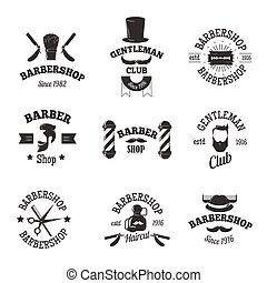 símbolos, tiendas, vector, peluquero, set.