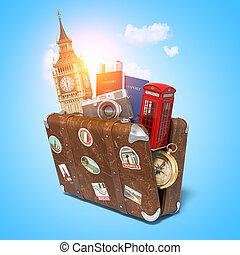 símbolos, torre, booth., viaje, concept., reino unido, grande, ben, londres, suiitcase, britain., vendimia, rojo, grande, viaje, turismo