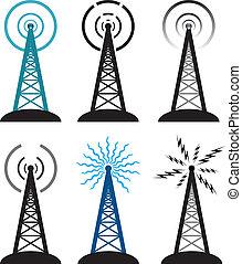 símbolos, torre, rádio