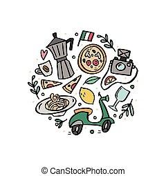 símbolos, tradicional, italy., composição, redondo