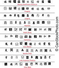 símbolos, traducción, vector, inglés, afortunado, chino