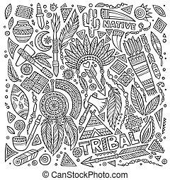símbolos, tribal, conjunto, nativo