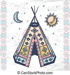 símbolos, tribal, conjunto, norteamericano, nativo