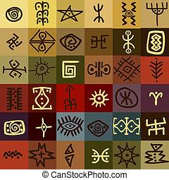 símbolos, tribal, fundo, étnico