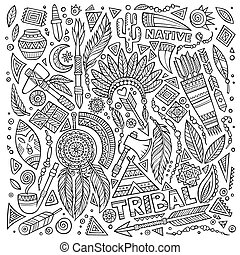 símbolos, tribal, jogo, nativo