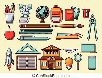 símbolos, utensílios, escola, desenhos animados