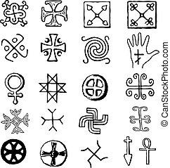 símbolos, vário, religiosas