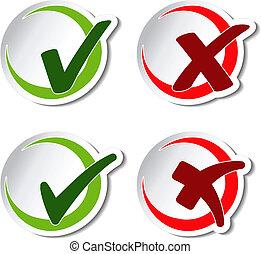 símbolos, vector, circular, marca de verificación