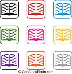 símbolos, vector, conjunto, libro