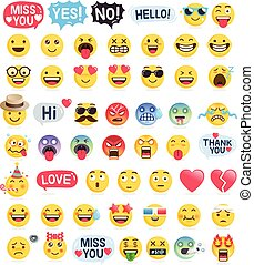 símbolos, vector, emoticons, iconos, set., ilustraciones, ...
