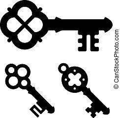 símbolos, vector, medieval, llave