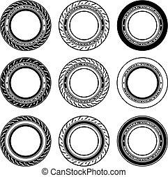 símbolos, vector, motocicleta, neumático, radial, tubeless