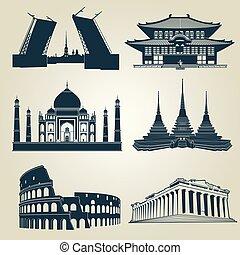 símbolos, vector, mundo, famoso, destino, siluetas, ...