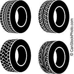 símbolos, vector, negro, neumático