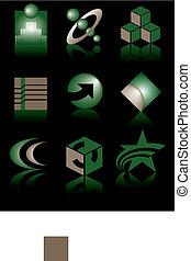 símbolos, vector, nueve