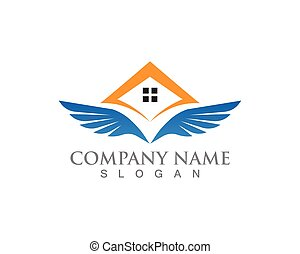 símbolos, vector, plantilla, app, hogar, logotipo