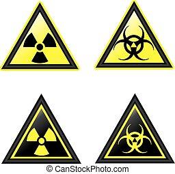 símbolos, vector, radiación