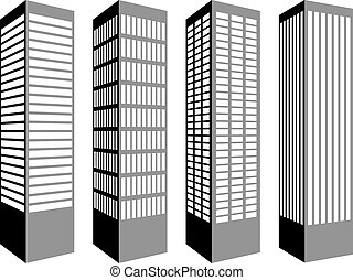 símbolos, vector, rascacielos