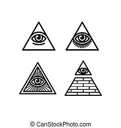 símbolos, ver, todos, conjunto, ojo