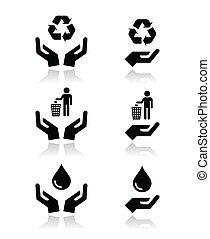 símbolos, verde, ecologia, mãos