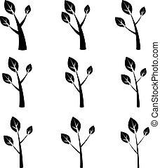 símbolos, vetorial, árvore