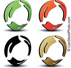 símbolos, vetorial, circular