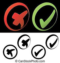símbolos, vetorial, -, confira mark