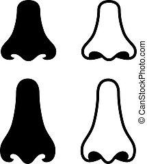 símbolos, vetorial, nariz, human