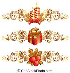 símbolos, vetorial, ornamento, natal, &