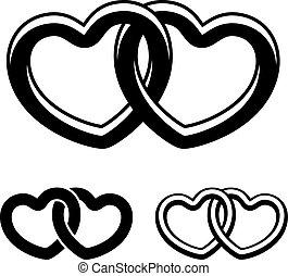 símbolos, vetorial, pretas, corações, branca, ligado