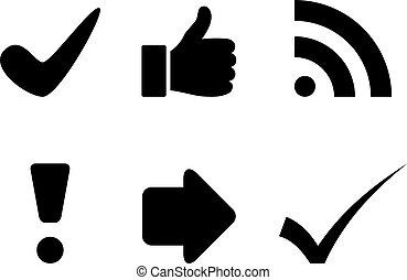 símbolos, vetorial, pretas