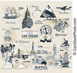 símbolos, vindima, viagem