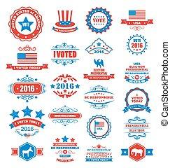 símbolos, voto, objetos, eua