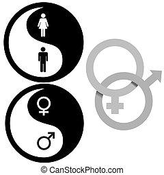 símbolos, yin, macho, femininas, yang
