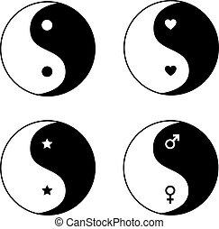 símbolos, ying, jogo, yang