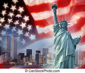 símbolos, -, york, gemelo, nuevo, patriótico, torres