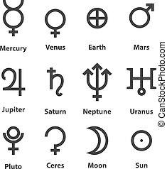 símbolos, zodíaco, planetas, astrología