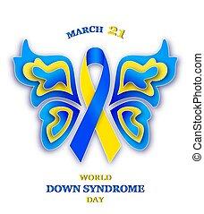 síndrome, abajo, mundo, día