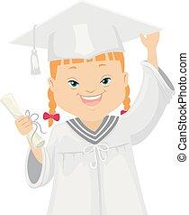 síndrome, ilustração, graduado, baixo, menina, criança