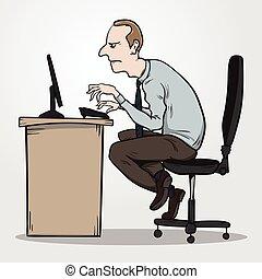síndrome, oficina, sentado, malo, razón, postura