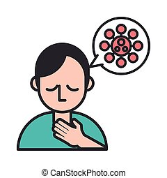 síntoma, espora, burbuja, persona, dolor de garganta, ...