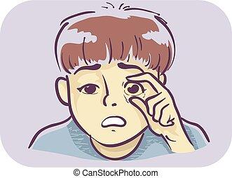 síntoma, ojos, amarillo, piel, niño, ilustración