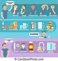 síntomas, ilustración, vector, tratamiento, frío, prevención
