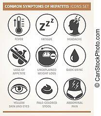 síntomas, vector, icono, conjunto, hepatitis.