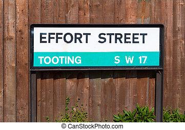 sípol, aláír, utca, london, erőfeszítés, út
