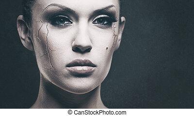 sír, baby..., grungy, női, portré, helyett, -e, tervezés