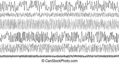 sísmico, conjunto, terremoto, oscilación, ondas
