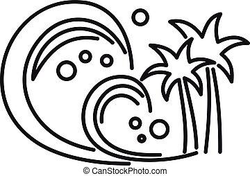 sísmico, icono, tsunami, contorno, estilo
