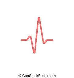 sísmico, línea, sinusoid, rojo