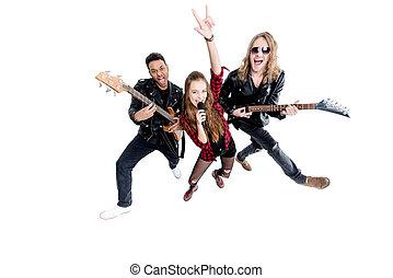s�nger, mit, mikrophon, und, musiker, mit, elektrische gitarren, freigestellt, weiß, felsen rolle, grunge, band, begriff